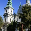 Stock Photo: White church with green domes and flowerbeds in town