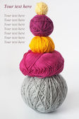 Five bright tangle of thread and knitting needle — Foto de Stock
