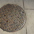 NYC sewer manhole - Stock Photo