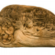 Carved sandstone  king bed - Stock Photo