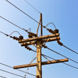 Pole power lines — Stock Photo