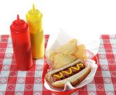 Hot Dog in basket — Stock Photo