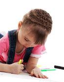 Barn ritar med tuschpenna och dröm — Stockfoto