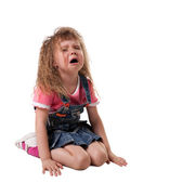 Child cry sit on white - isolated — Stock Photo