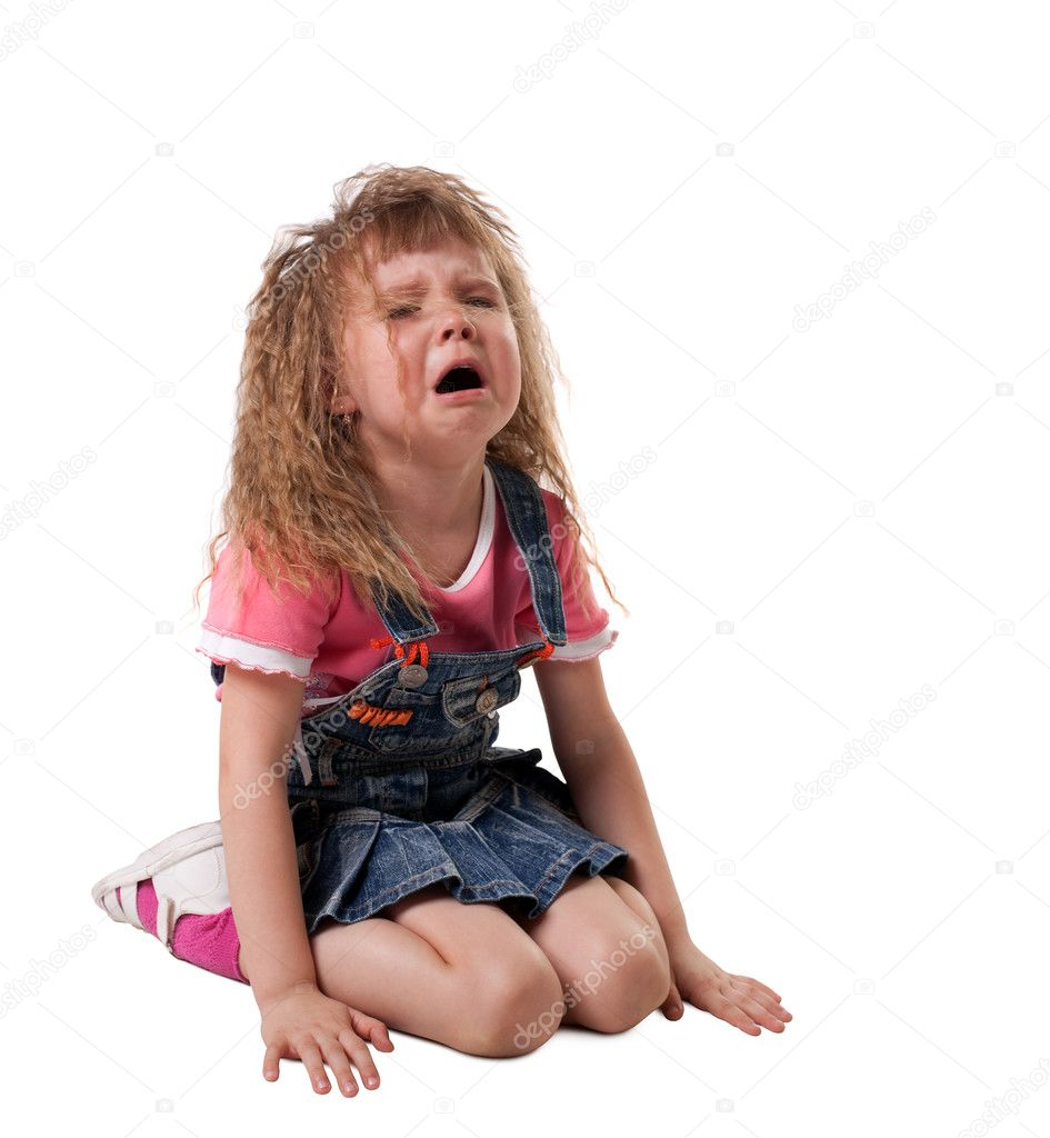 Crying kid sit on white, jeans cloth - isolated — Stock Photo #5576116