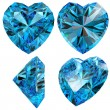 Stock Photo: Blue heart diamond cut gem isolated