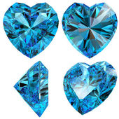 Blue heart diamond cut gem isolated — Stock Photo