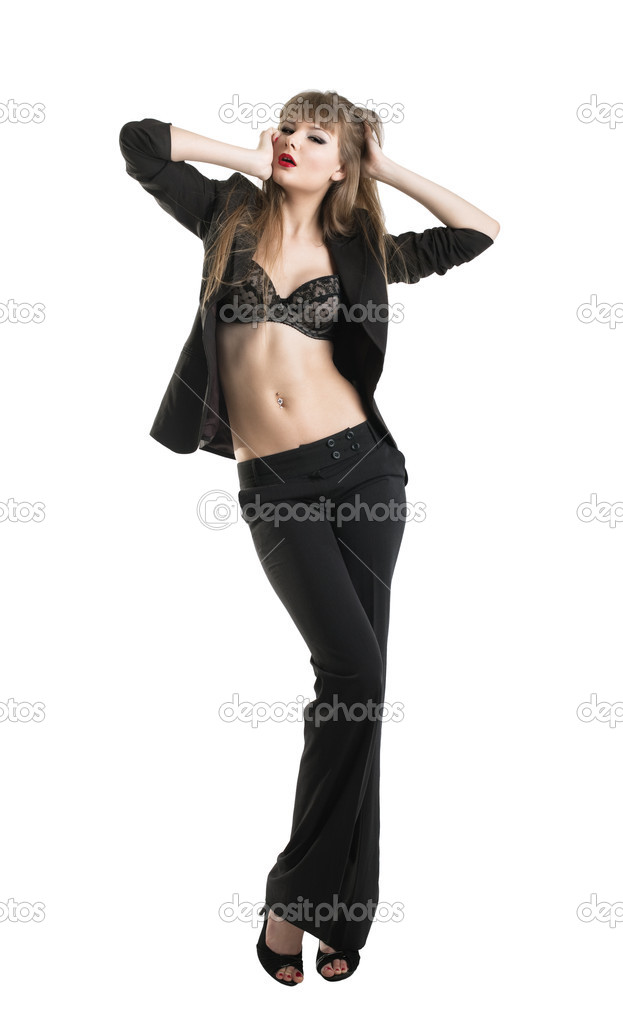 Young tall beauty sexy girl in business suit and lingerie isolated