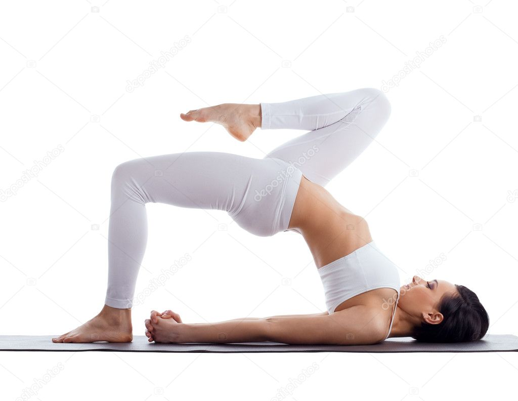 woman exercise bend yoga pose on rubber mat stock photo wisky 6256707. Black Bedroom Furniture Sets. Home Design Ideas