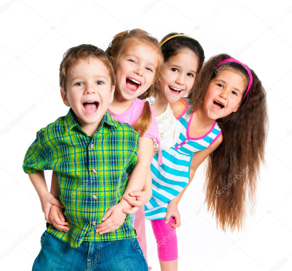Laughing small kids on a white background — Stok fotoğraf #5609339