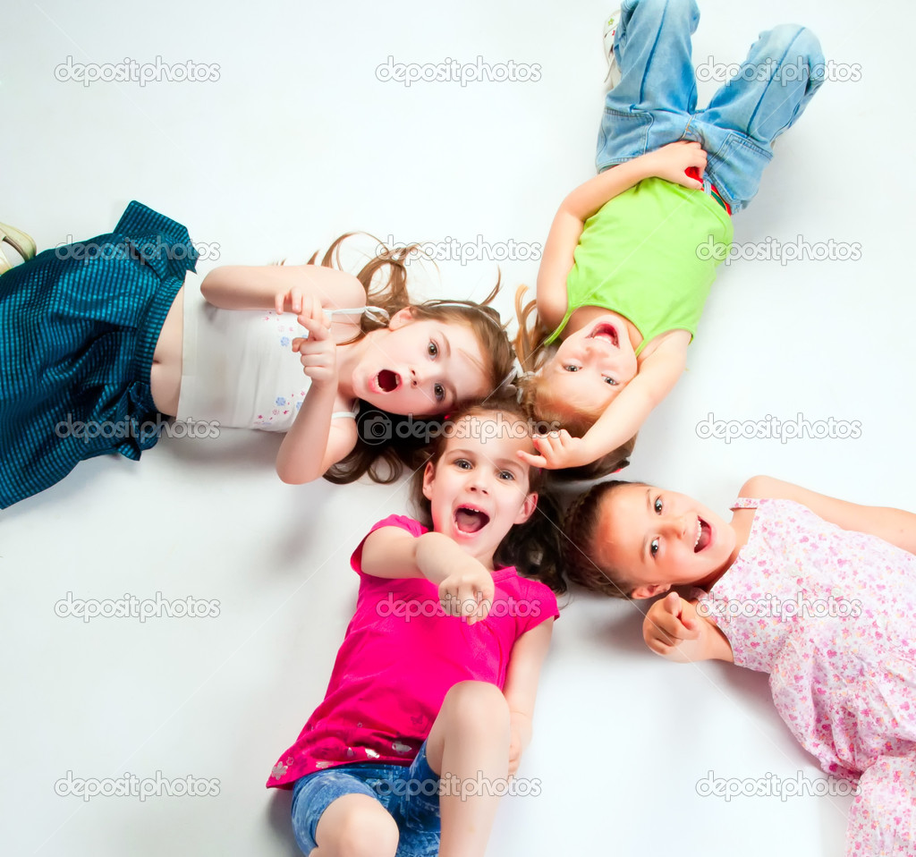 Laughing small kids on a light background — Stock Photo #5836652