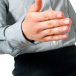 Woman holds out her hand — Stock Photo #5981564