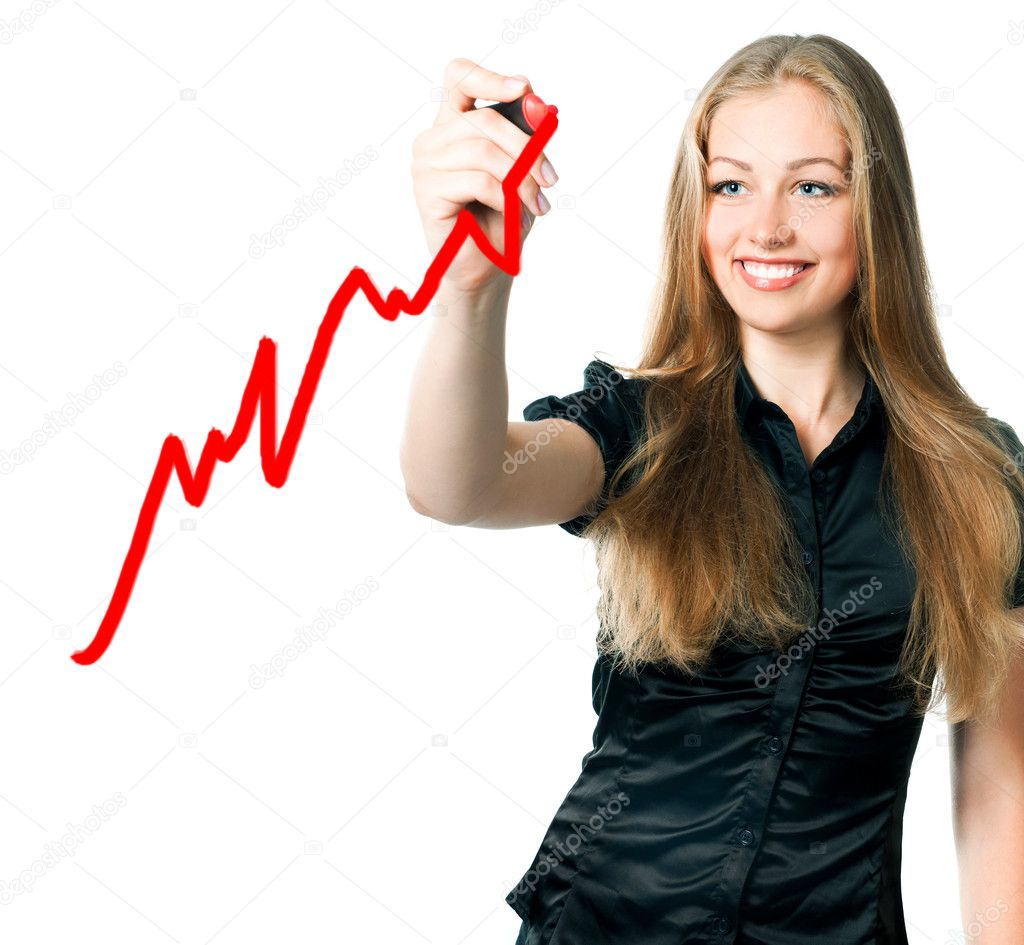 Beautiful young business woman drawing a marker — Stock Photo #5980058