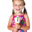 Cute little girl eating ice cream — Stock Photo #6095678