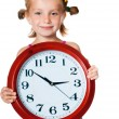 Little girl with clock — Stock Photo #6172150