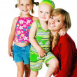 Two small children with mother — Stock Photo