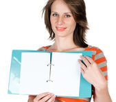 Young beautiful girl with a notebook — Stock Photo