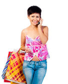Beautiful girl with shoping bsgs — Stock Photo