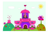 Castle with a princess vector — Vector de stock