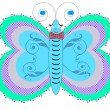 Blue butterfly isolated on white background vector — Stock Vector