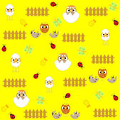 Seamless flowers and birds background pattern in vector — Stock Vector