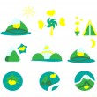 Stock Vector: Nature, tourism and mountains icon set. Collection of 9 design elements. v