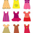 Stock Vector: Dresses for girls set vector