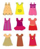 Dresses for girls set vector — Stock Vector
