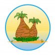 Two palm tree on the tropical island  vector — Stock Vector