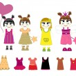 Little girls and dresses vector — Stock Vector #6423281