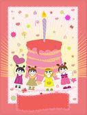 Birthday card vector illustration — Stock Vector