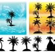 Silhouettes of palm trees vector — Stock Vector