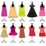 Dresses for girls vector — Stock Vector