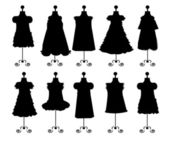 Dresses. silhouettes. set. vector — Stock Vector