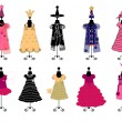 Stock Vector: Dresses for girls. costumes vector