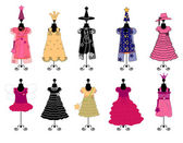 Dresses for girls. costumes vector — Stock Vector