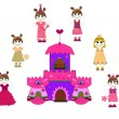 Little cute princess and castle vector — Stock Vector #6671425