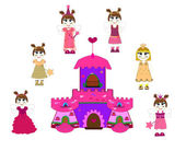 Little cute princess and castle vector — Stock Vector