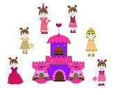 Little cute princess and castle vector — Stock Vector