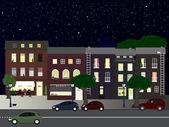 Verlichte straat 's nachts — Stockvector