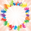 Vector festive balloons and light-burst — Stock Vector