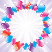 Vector festive balloons and light-burst — Stock Vector