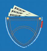 Dolarové bankovky v kapse — Stock vektor