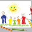 Vector illustration of happy family and the sun — Stock Vector