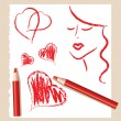 Stock Vector: Pencil sketch of red hearts and beautiful woman, vector