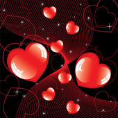 Vector abstract background of shiny hearts — Stock Vector