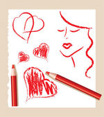 Pencil sketch of red hearts and beautiful woman, vector — Stock Vector