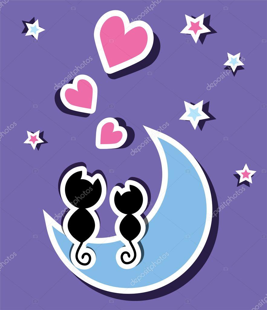 Dos gatos enamorados sentados en la luna, vector \u2014 Vector de stock 5797235