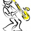 Vector stylized saxophone and musician — Imagen vectorial