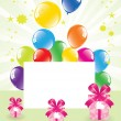 Vector festive balloons and gift boxes — Stock Vector